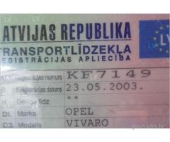 Atrasta auto tehniskā pase