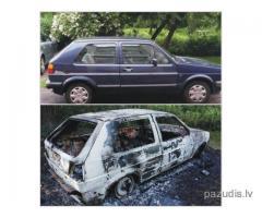 Nozagtais VW atrasts nodedzināts