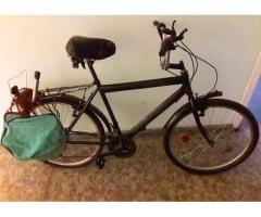 Atrasts velosipēds ar somu.