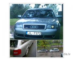 Nozagts Audi A6 2002. gada, universāls pelēkā krāsā.